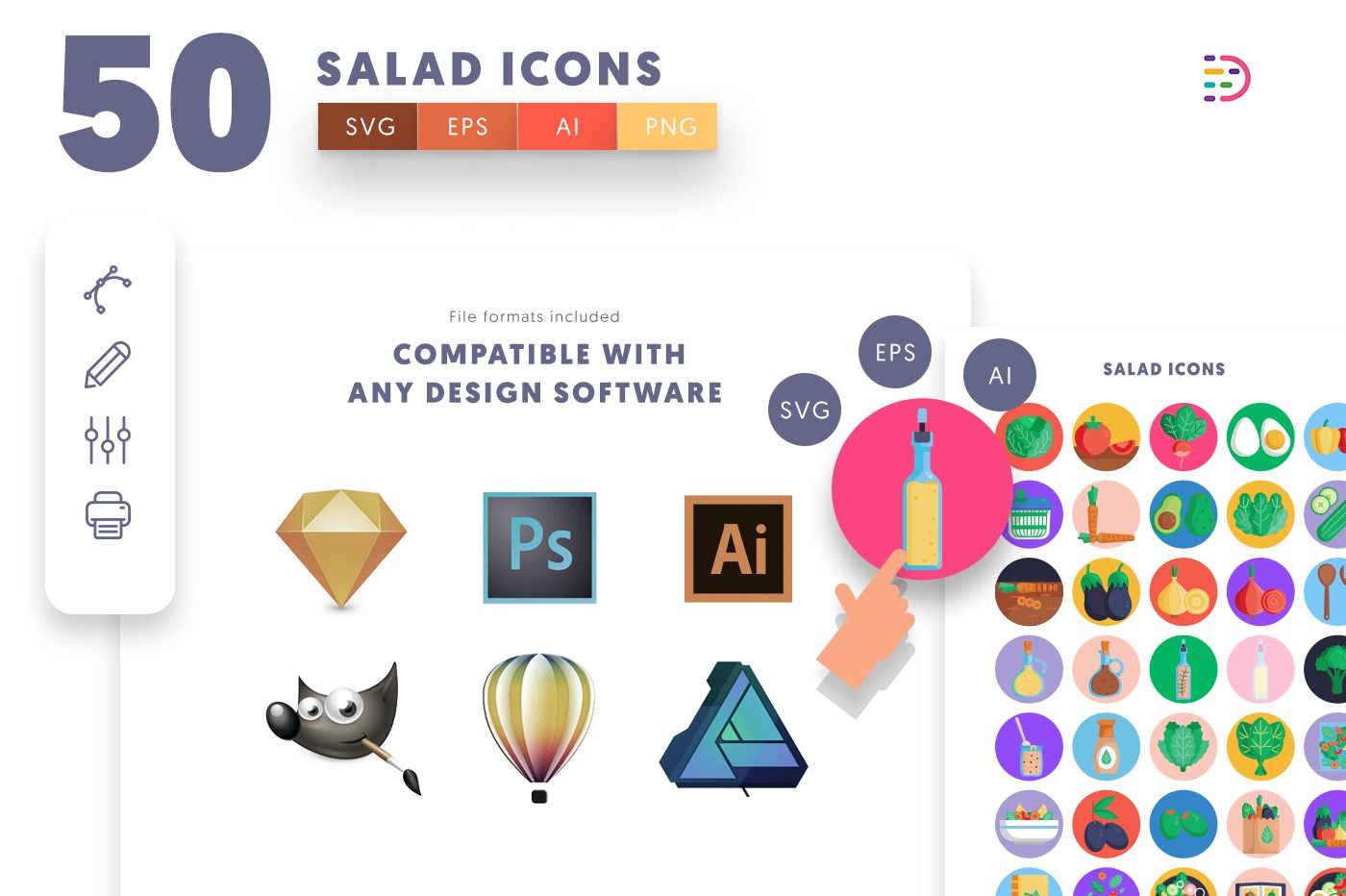 full vector 50 Salad Icons EPS, SVG, PNG