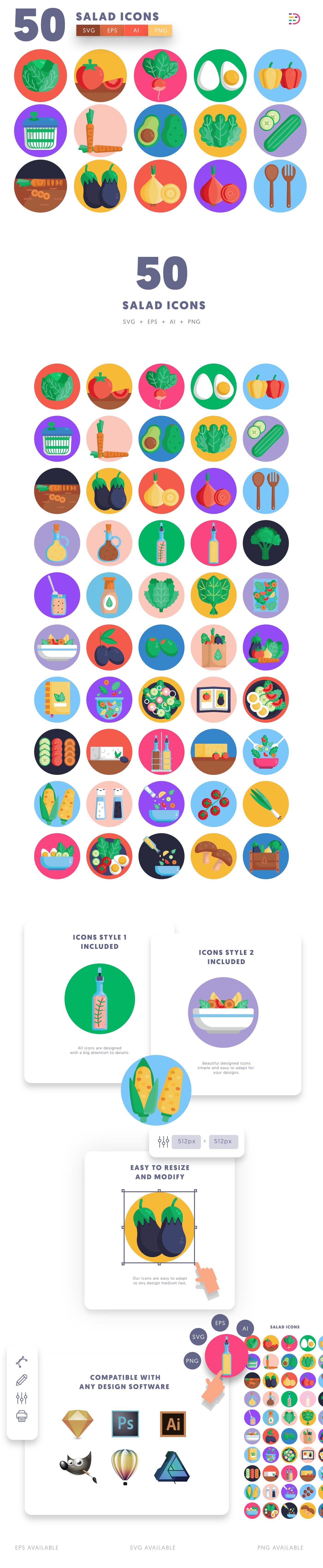 Salad icons info graphic