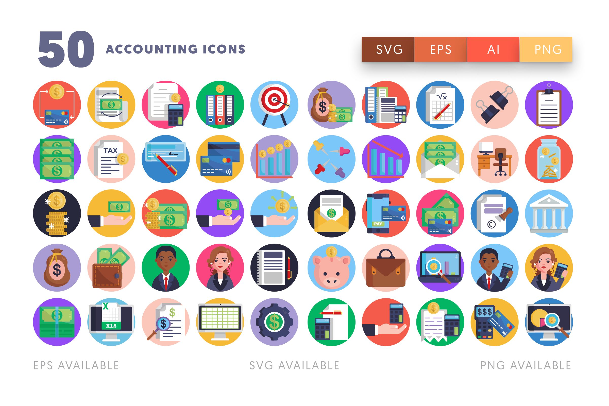 Accounting icons png/svg/eps